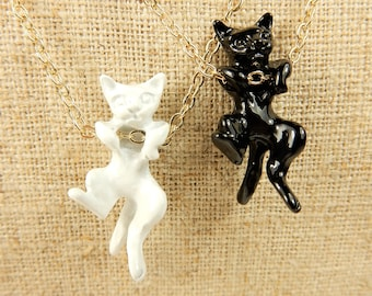 Cat Necklace, Cat Pendant, Black Cat Necklace, White Cat Necklace, Cat Jewellery, Cat Lover Necklace, Feline Jewelry, Cat Lover Gift