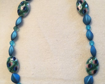 Teal Multicolored Beaded Necklace, Teal Necklace, Beaded Necklace