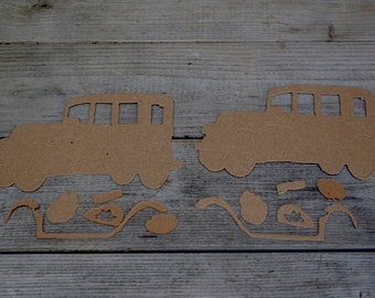 Automobile Chipboard Die Cut Set of Three