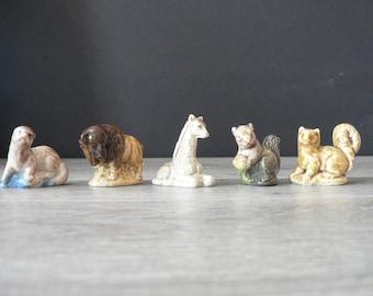 Vintage Wade Miniature Ceramic Animal Figurine Set of 5 - Red Rose Mini Whimsie Figurine Set - seal, buffalo, giraffe, squirrels - mini
