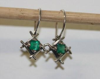 FREE SHIPPING Earring,Green Stone Earrings, Silver Earrings, Green Agate Earrings, Silver Jewelry, Handmade 925 Silver Earrings,