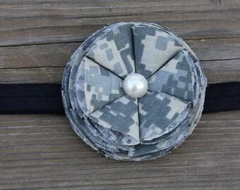 Army ACU Flower Bloom Baby Headband, Military Camo Accessory