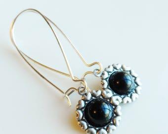 50% Off Clearance Sale, Black, Vintage Glass Earrings, Heart Pattern, Antique Silver