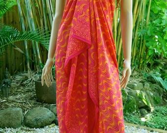 Pink Orange Batik Sarong, Beach Sarong, Pareo E