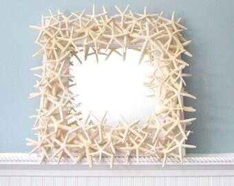 Beach Decor Starfish Mirror, Nautical Decor Starfish Wall Mirror, Seashell Wall Mirror, White Starfish Mirror, Seashell Mirror  #SFM18