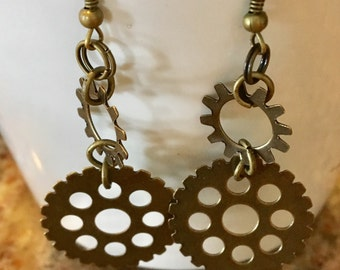 Bike Gear Earrings with Antique Gold Brass Metal Dangles in Antique Gold and French Hooks