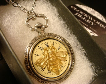 Bee over Watch Face Pocket Watch Style Pendant Necklace (2300)