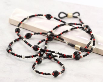 Black Beaded Lanyard Red Eyeglass Holder Silver Eyeglass Chain Black Eyeglass Necklace Red Eyeglass Leash Office Fashion Gift for Coworker