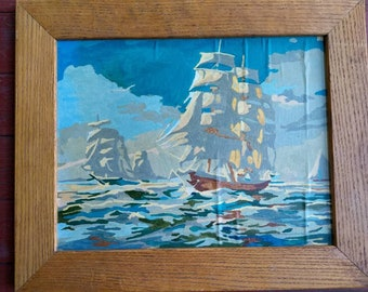 Vintage paint by number ship seascape oil painting
