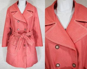 Vintage 60's Salmon Pink Spring Coat M/L