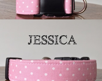 Jessica | Pink with White Polka Dot Handmade Collar