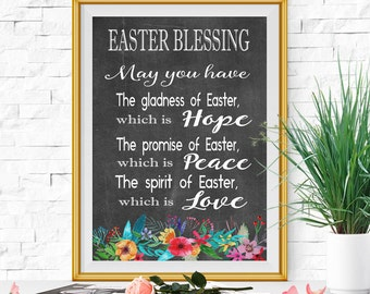 Easter blessing card Easter wall decor Easter printable Chalkboard Easter print Colorful Floral Easter art INSTANT DOWNLOAD 5x7 8x10 11x14