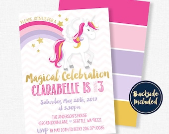 Unicorn Invitation, Magical Birthday Invitation, Unicorn Birthday Invitation, Girl Birthday Invitation