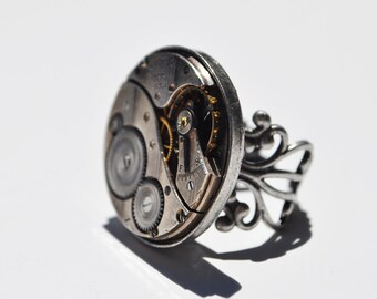 Steampunk Ring -Vintage Elgin 1921 Movement 00102