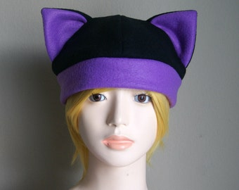 Fleece Cat Hat / BLACK + PURPLE Beanie Style Cap Cute Anime Neko Cosplay Cat Ears Kitty Ears Kawaii Japanese Fashion