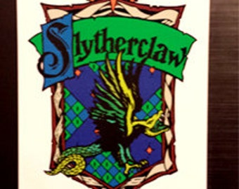 Slytherclaw Cross-House Crest Vinyl Sticker