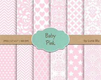 "Baby Pink Digital Paper: ""Baby Pink Patterns"" soft pink, light pink, pale pink, pastel pink, for invitations, scrapbooking, cardmaking"