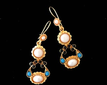 Brass earring with gemstone