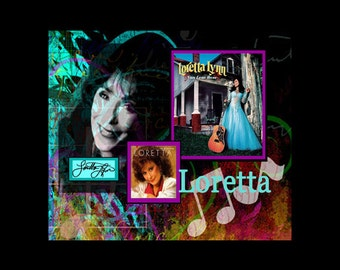 LORETTA LYNN COUNTRY Music Collage With Free Shipping