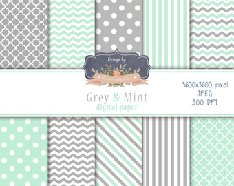 SALE Mint and Grey Digital Paper, Chevrons, Stripes, Polka Dots, Instant Download, Scrapbooking Paper Pack
