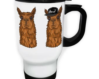 Alpaca Hipster Character Funny Smile White Thermo Travel Mug 14oz g679t