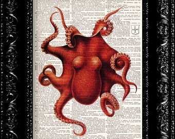 BOGO - Rich Red Octopus - Vintage Dictionary Print Vintage Book Print Page Art Upcycled Vintage Book Art