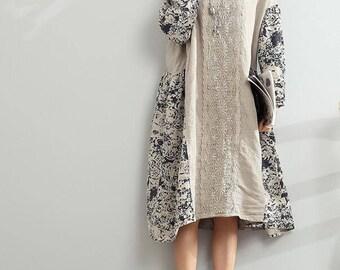 linen dress Loose Oversize Dress/ Linen large size asymmetrical dress summer dress