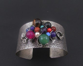 Handmade copper wire wrapped cuff bracelet with semi precious stones