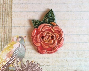 Handmade Ceramic Button With A Red Rose And Leaves