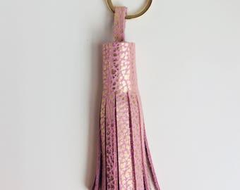 Tassel Keychain- Pink Bison