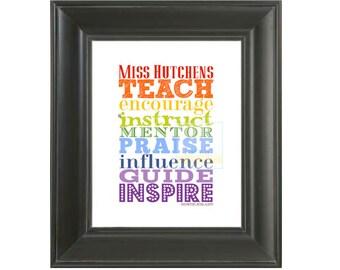 TEACHER APPRECIATION GIFT . Classroom Art Poster Sign, Printable Teacher Gift, Teach, Thank You Gift for Teacher, Classroom Decor Gift