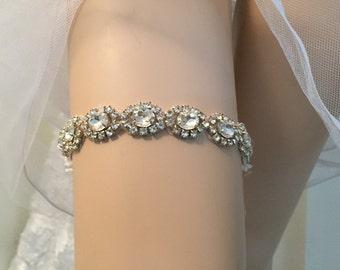 Wedding Garter,Bridal Garter, Crystal and Rhinestone Garter