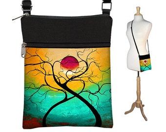 MadArt Small Sling Bag Crossbody Purse in Twisting Love,   Shoulder Cross Body Bag,   eReader Case Cover, blue yellow, aqua RTS