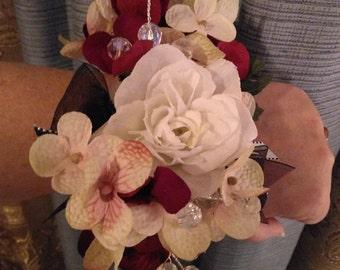 Red/Cream/Mauve Wrislet Bracelet, Proms, Bridal Showers, Mother of the Bride/Groom