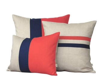 Colorblock Stripe Pillow Set - Coral & Navy Striped Pillow and Color Block Pillow Set by JillianReneDecor (Set of 3)