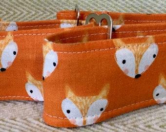 2 Inch Martingale, Dog Collar, Sighthound, Greyhound, Orange Foxes