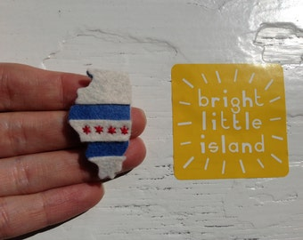 Chicago Pride Embroidered Infant Snap Clip/ Chicago Hair Clip // Chicago Flag Clip