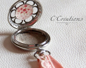 Ring Pillow, vintage floral cotton and silver powder pink colors