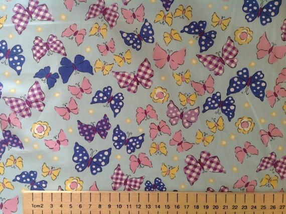 High quality cotton poplin, butterflies on baby blue