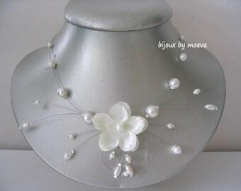 Satellite wedding necklace wedding jewelry ivory flower and beads