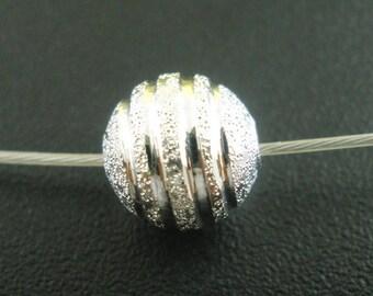 set of 10 8mm ridged Depolies silver STARDUST beads