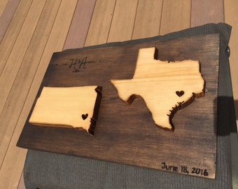 Long Distance Love Map (wood)