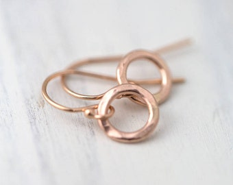 Tiny Hammered Rose Gold Filled Earrings Handmade | Minimal Rose Gold Dangle Earrings Jewelry Simple Gift | Handmade Jewelry Earring
