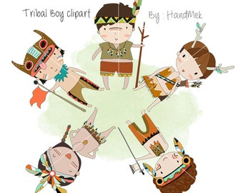 Tribal boy , boy Clipart  Instant Download PNG file - 300 dpi