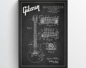 1955 Gibson Guitar Patent Poster, Patent Art Print, Patent Print, Blueprint, Wall Art, Home Decor, Gift Idea, MUIN27P