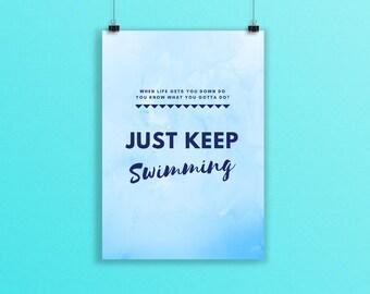 Typography Print, Just Keep Swimming, A5 Print, Office Decor, Motivational Quote, Inspirational, Costal Art, Beach Decor, Print, Blue Art