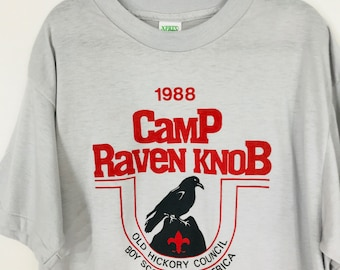 Vintage Boy Scout T Shirt 1988 Camp Raven Knob NC Youth Large Made In USA Thin North Carolina BSA 80s Scouting Summer Camp
