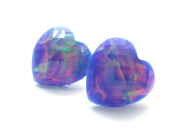 Lavender Opal Heart Post Earring Set - Iridescent Purple Opal Pattern Resin Heart Studs- Magical Unicorn Fashion Earrings