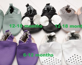 HOT SALE -50% Leather baby shoes Baby shoes, Soft sole baby shoes leather, Baby girl shoes, Baby boy shoes, Size 6-12, 12-18 - months