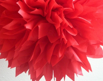 RUBY RED tissue paper pompom / wedding ceremony reception aisle marker arbor arch rose decoration anniversary chinese new year purim ladybug